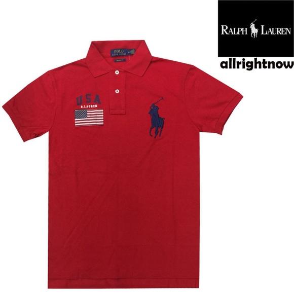22d8c5f88483b8 Polo Ralph Lauren Men s NWT USA Red Polo Shirt